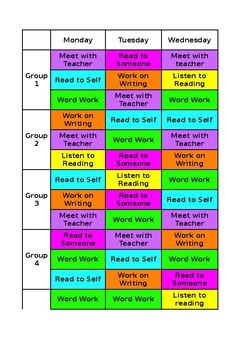 Daily 5 Editable Rotation Chart