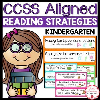 """Kindergarten Common Core Aligned Reading Strategies with """"I Can"""" Statements"""