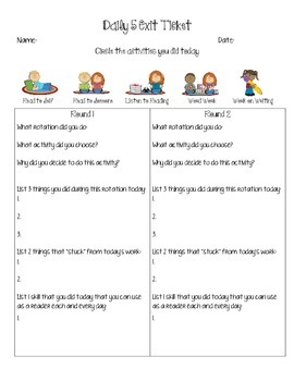 Daily 5 Exit Ticket