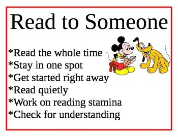 Daily 5 Expectation Signs--Mickey Mouse Theme