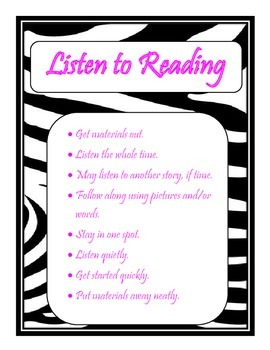 Daily 5 Behaviors Anchor Charts (Zebra/Hot Pink Themed)