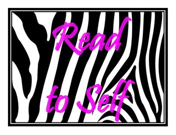 Daily 5 (Five) Bulletin Board Posters (Zebra/Hot Pink Themed)