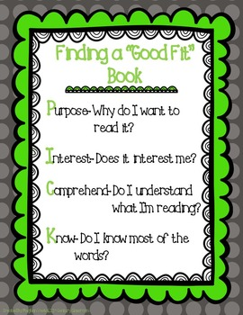 """Daily 5 """"Good Fit Book"""" PICK Poster- FREEBIE!"""
