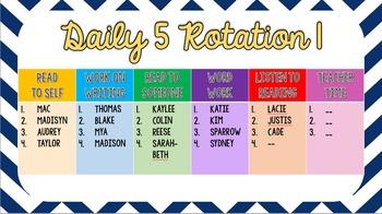 Daily 5 Groups Rotation PowerPoint - Navy Chevron