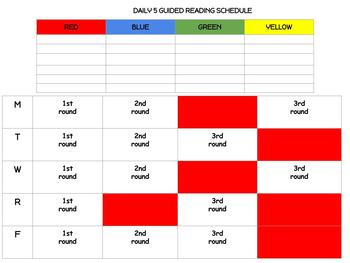 Daily 5 Guided Reading Schedule