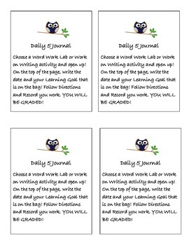 Daily 5 Journal Labels