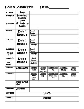 Daily 5 Lesson Plan Template