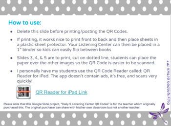 Daily 5 Listening Center QR Codes