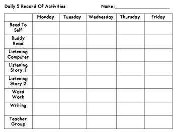 daily activities tracker