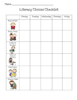 Daily 5--Literacy Choices Checklist!