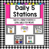 Daily 5/ Literacy Stations Labels for Rotation/ Centers in Gingham