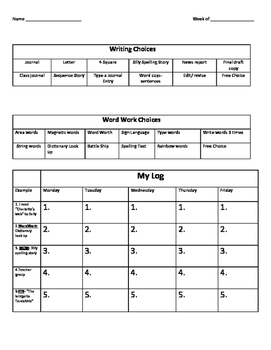 Daily 5 Log and goal sheet