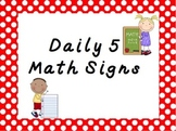 Daily 5 Math Center Signs