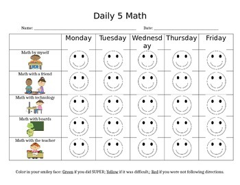 Daily 5 Math Checklist