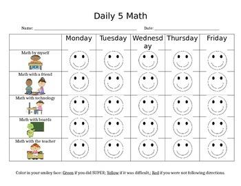 Daily 5 Math Checklist