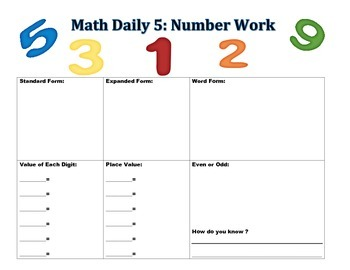 Daily 5 Math Number Work