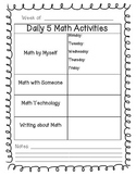 Daily 5 Math Planning Sheet FREEBIE