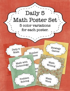 Daily 5 Math Posters - Color Variety Pack