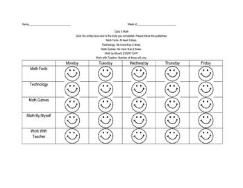 Daily 5 Math Sheet