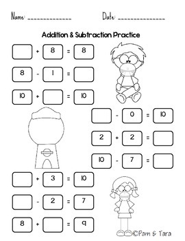Daily 5 Math Work Pages: Addition & Subtraction - Facts to 10