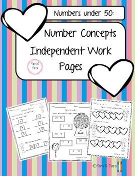 Daily 5 Math Work Pages: Number Concepts Under 50
