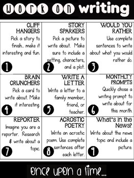 Daily 5 Menus for Writing and Spelling