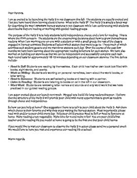 Daily 5 Parent Letter