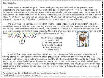 Daily 5 Parent Letter Description