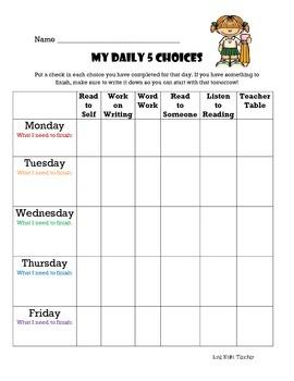 Daily 5 Pick Sheets