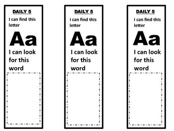 Daily 5 Picture Book Task Bookmarks