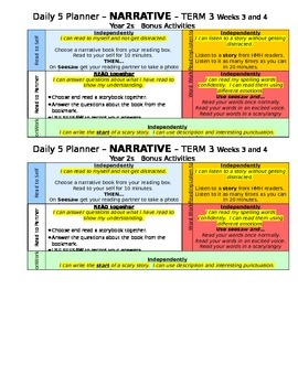 Daily 5 Planner 'NARRATIVE' bonus activities