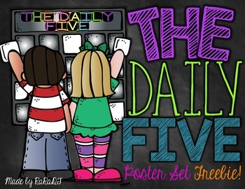 Daily 5 Poster Set *FREEBIE* {Black and Brights Chalkboard Theme}