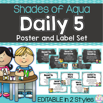 Daily 5 Poster and Label Pack: Shades of Aqua {Editable}