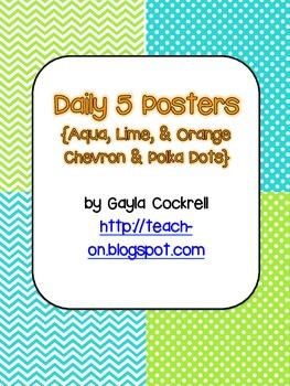 Daily 5 Posters: Aqua, Lime & Orange Chevron & Polka Dots