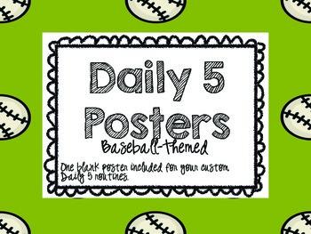 Daily 5 Posters Baseball Theme--FREE!