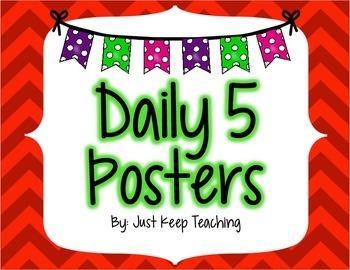 Daily 5 Posters- Chevron, Bright Color Theme