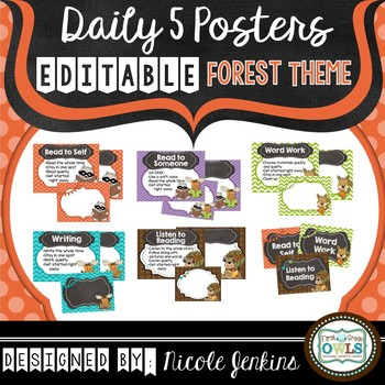 Daily 5 Posters Forest Theme EDITABLE (Orange and Purple)