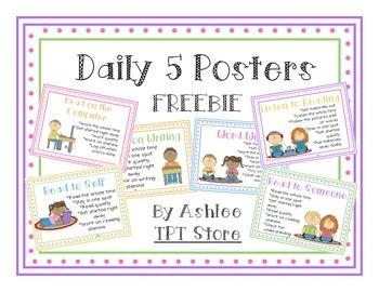 Daily 5 Posters Polka Dot Borders