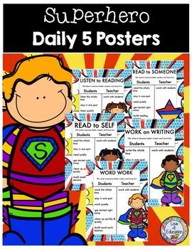 Daily 5 Posters Superhero Theme