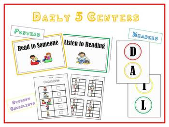 Daily 5 Posters for Centers - Circle Headings, Colorful Posters, & Checklist