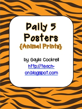 Daily 5 Posters in Safari/Animal Print