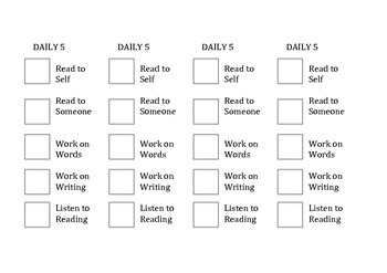 Daily 5 Priority Checklist for Students