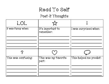 Daily 5 Read to Self: Post-It Thoughts