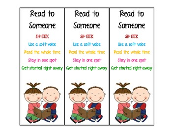 Daily 5: Read to Self & Read to Someone Bookmarks