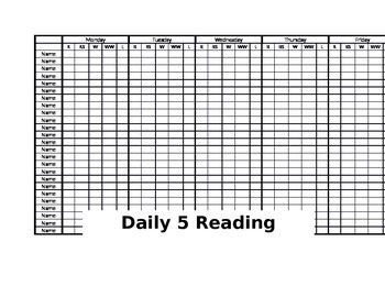 Daily 5 Reading Check Off