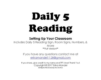 Daily 5 Reading Room Set