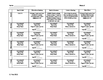 Daily 5 Recording Sheet aligned with Common Core