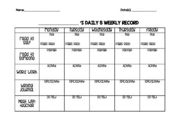 Daily 5 Recording Sheet