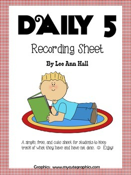 Daily 5 Recording Sheet