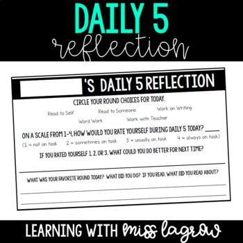 Daily 5 Reflection Accountability Assessment Sheets